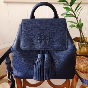 Tory Burch Thea Mini Backpack Navy With Tassels